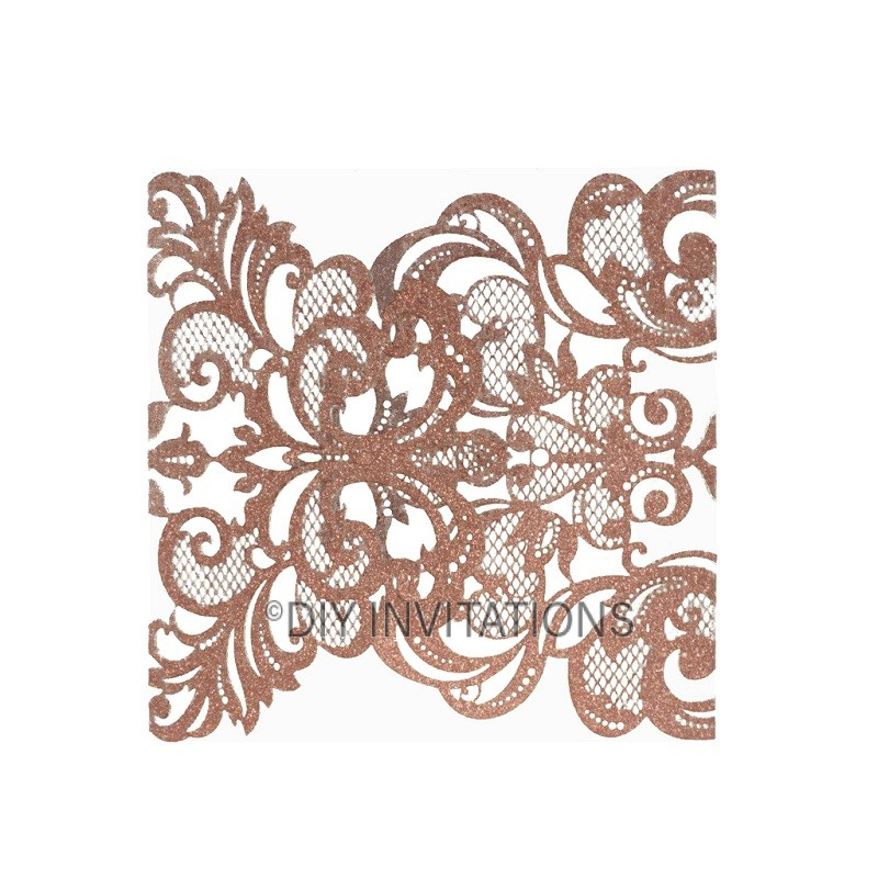 Rose Gold Elegant Two Fold Swirl Glitter Laser Cut Invitation