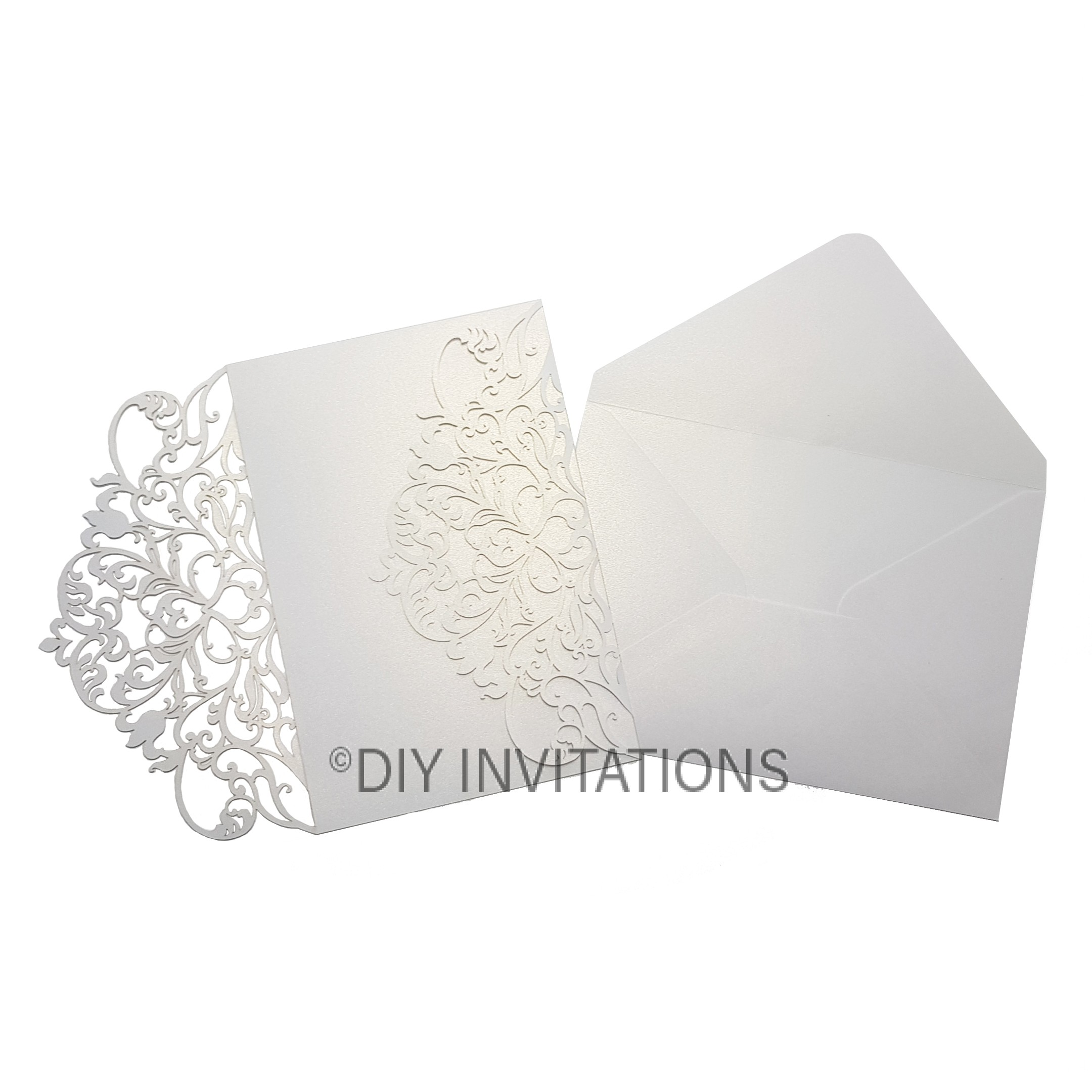 White Shimmer 5x7 Two Fold Delicate Swirl Laser Cut Invitation