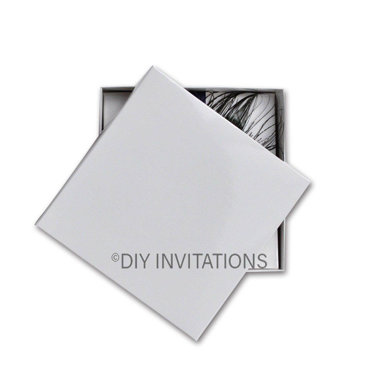 160 x 160 Square Invitation Box - white fold-up box