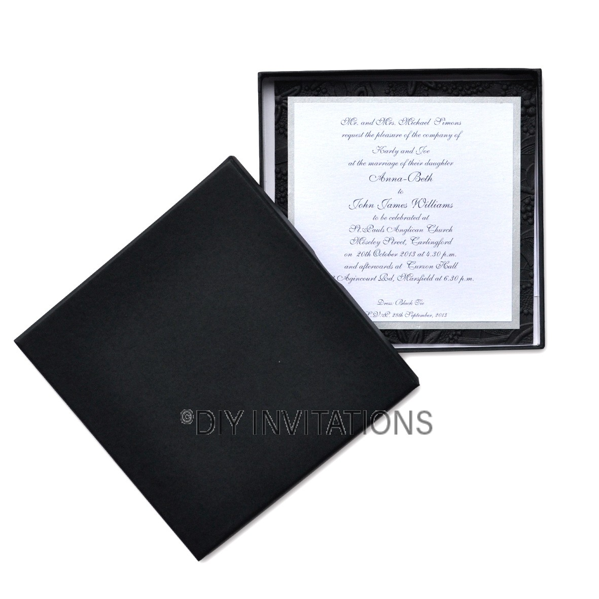 Rigid Invitation Box - Square - Black Matt (150x150mm)