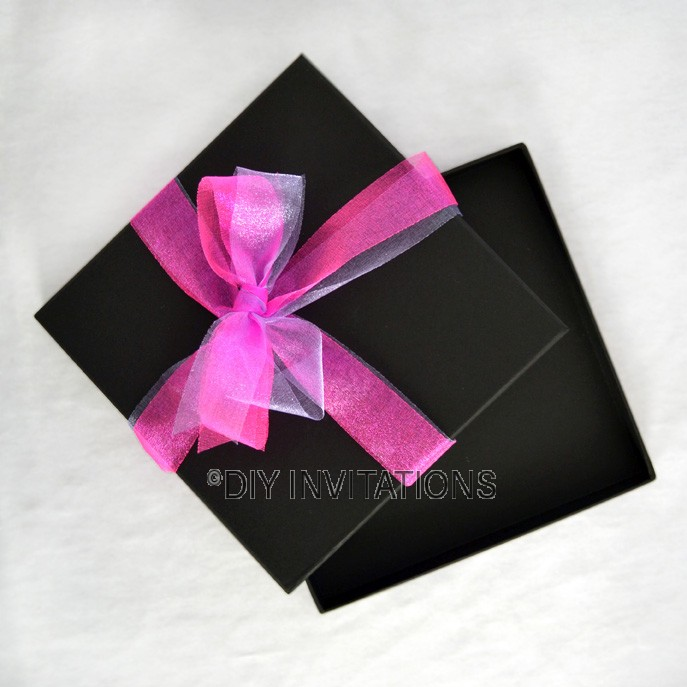 Rigid Invitation Box - Square - Black (Black Lined)