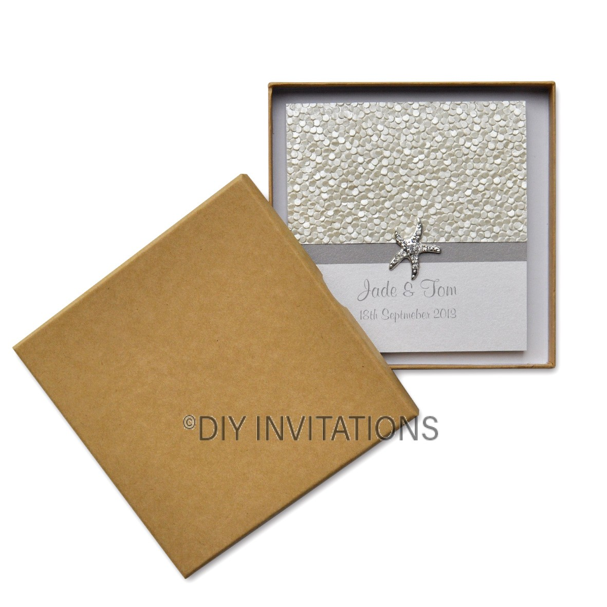 Rigid Invitation Box - Square - Plain Kraft (150x150mm)