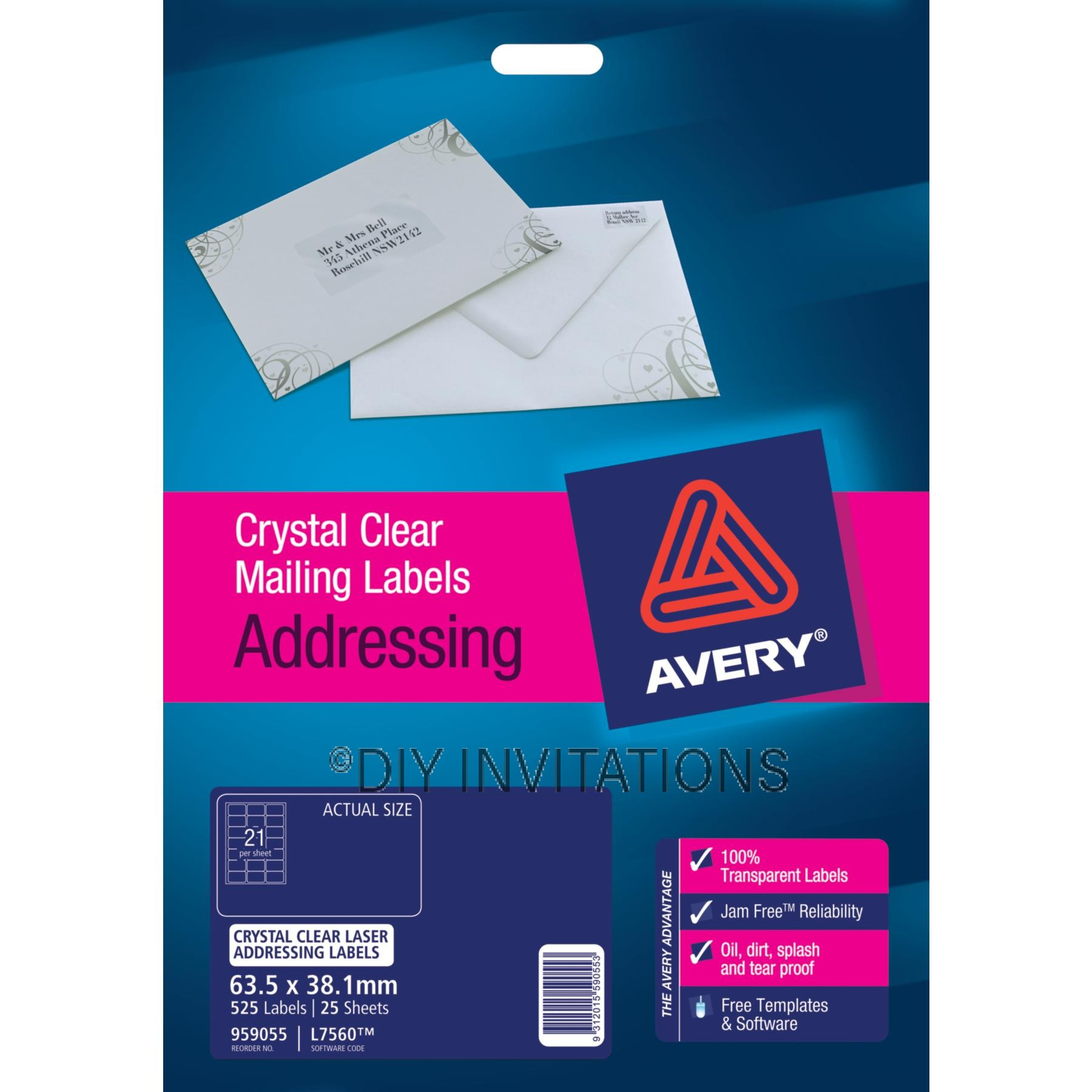 Avery Labels - Crystal Clear - 63.5 x 38.1mm