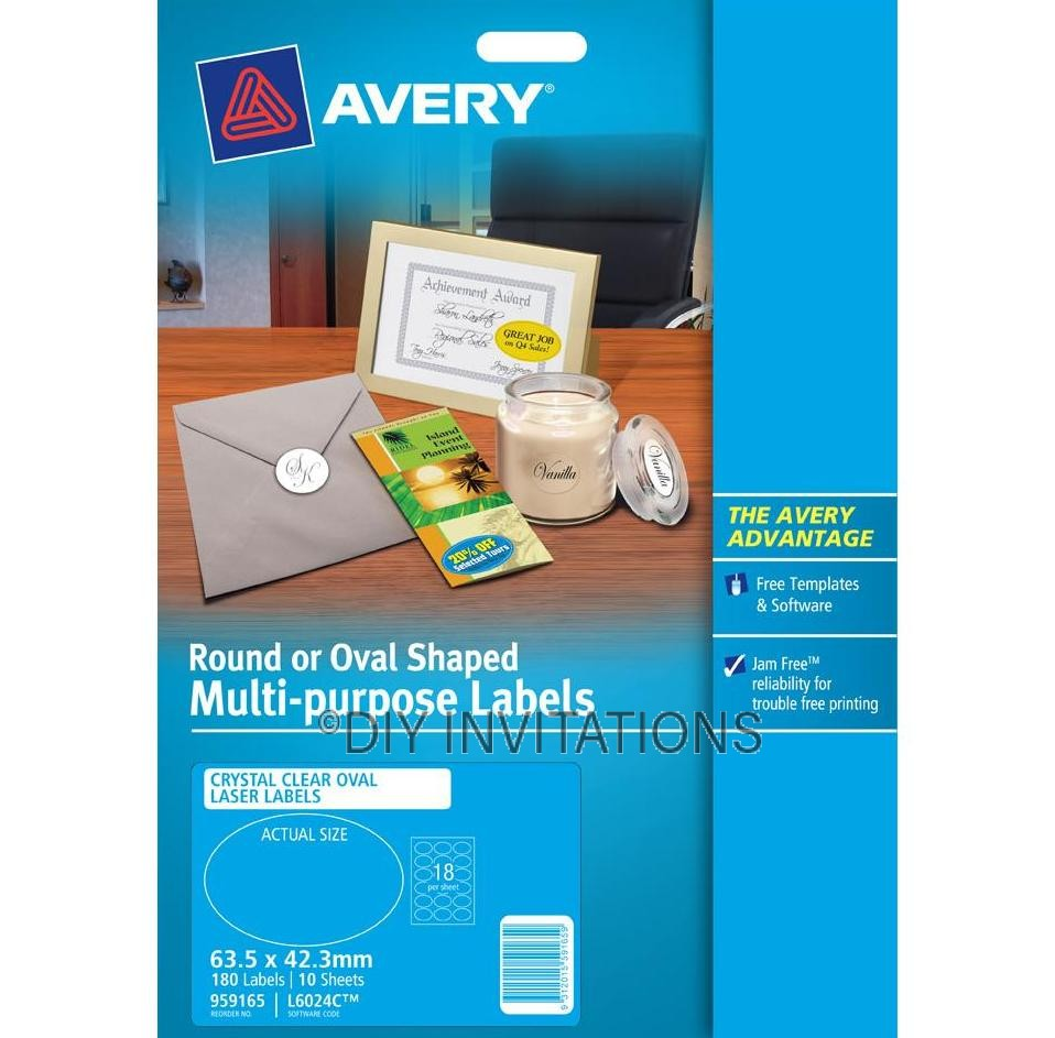 Avery Labels - Crystal Clear Oval - 63.5 x 42.3mm