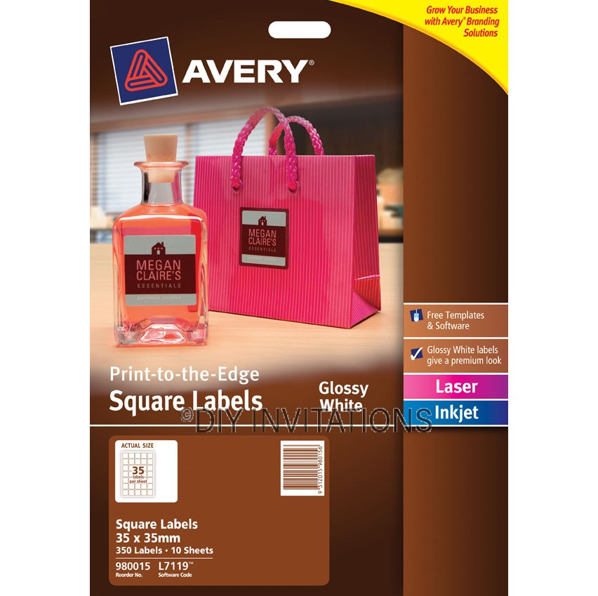 Avery Labels - Glossy White Square - 35 x 35mm
