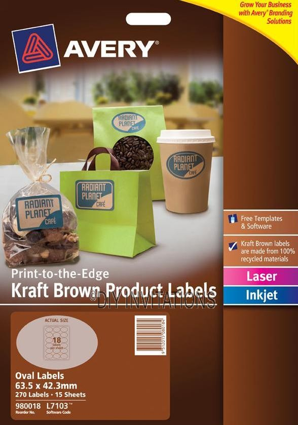 Avery Labels - Kraft Brown Oval - 63.5 x 42.3mm
