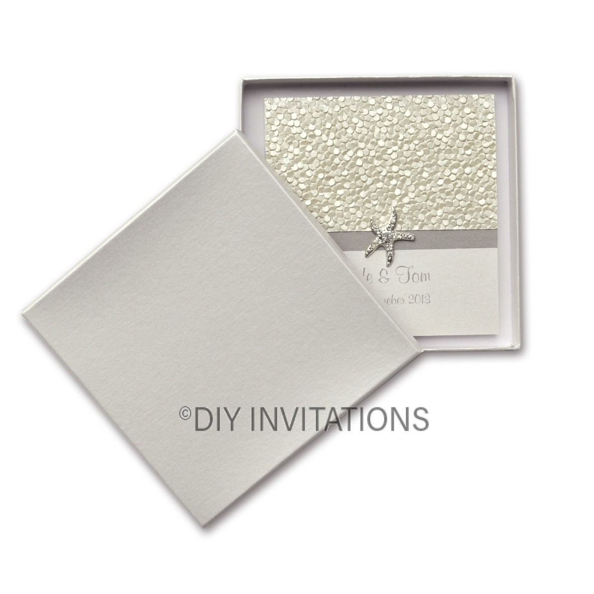 Rigid Invite Box - Square Plus - Stardream Quartz (170mmx155mm)