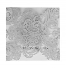 Laser Cut Invitation Elegant Swirl Silver Closed View