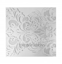 Laser Cut Invitation Elegant Swirl White Shimmer Closed View