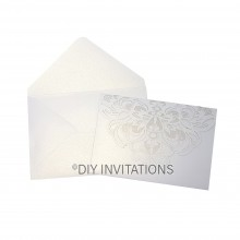 White Shimmer 5x7 Tri Fold + Pocket Lace Swirl Laser Cut Invitation