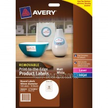 Avery Labels - White Round Removable - 60mm
