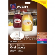 Avery Labels - Glossy White Oval - 84.7 x 50.8mm