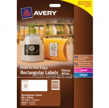 Avery Labels - Glossy White Rectangular - 80 x 35mm