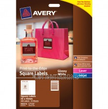 Avery Labels - Glossy White Square - 45 x 45mm