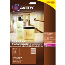 Avery Labels - Crystal Clear Square - 35 x 35mm