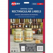 Avery Labels - Crystal Clear Rectangular - 96 x 50.8mm