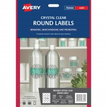 Avery Labels - Crystal Clear Round - 60mm